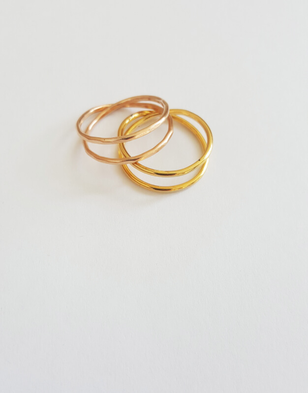 SLI-RIN-02 - DOUBLE SLIM RING - SLIM GOLDPLATED COLLECTION - SILVINA RIO